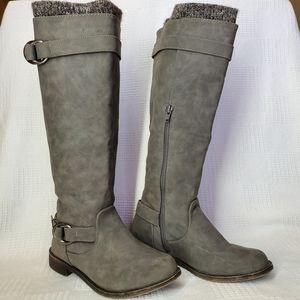 Shoe Dazzle Gray Riding Boots Size 7